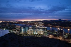 night skyline view of Tempe Arizona