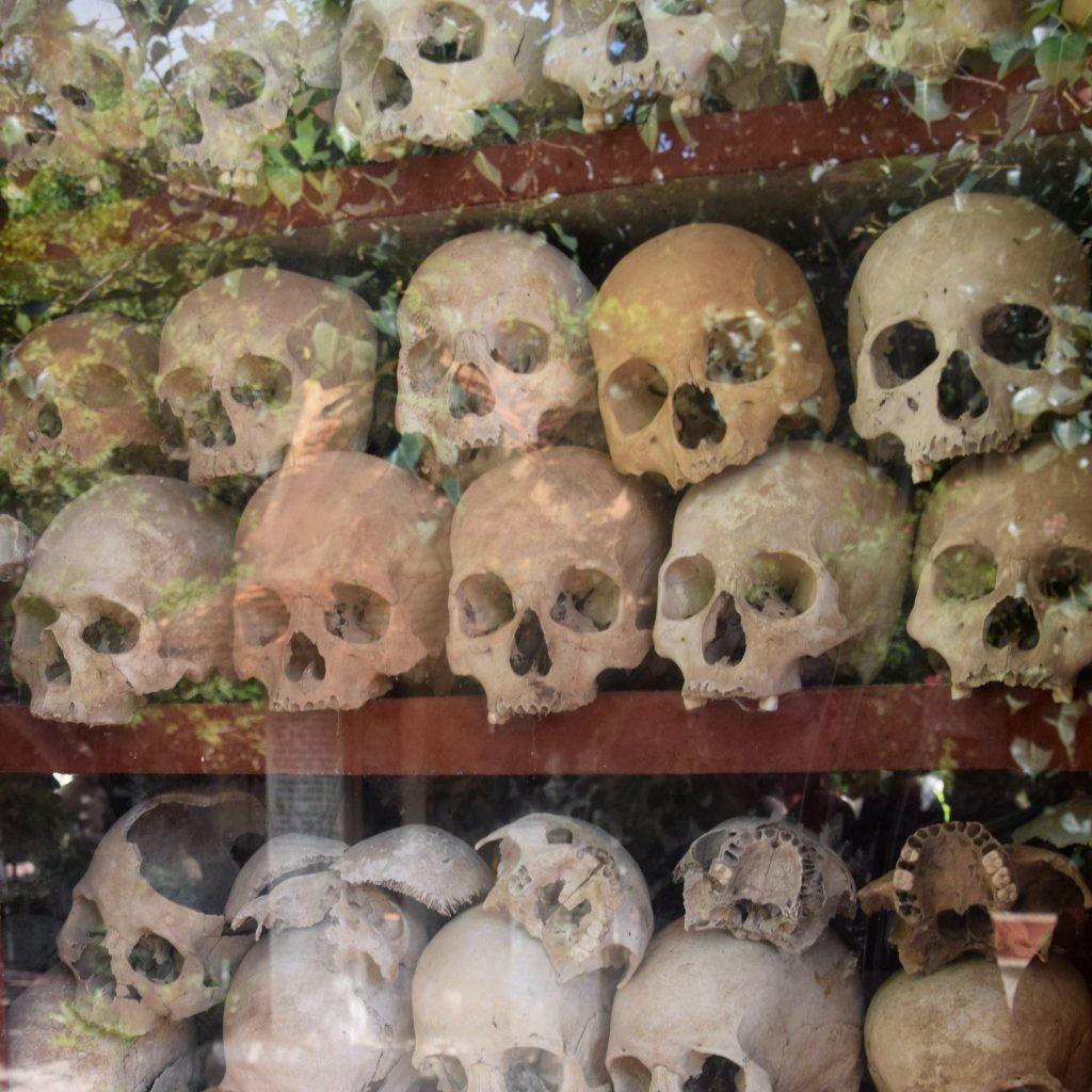 skulls on display at the killing fields near Siem Reap, Cambodia