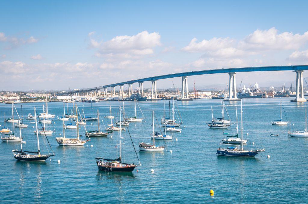 San Diego waterfront with sailing Boats - harbor and Coronado Bridge