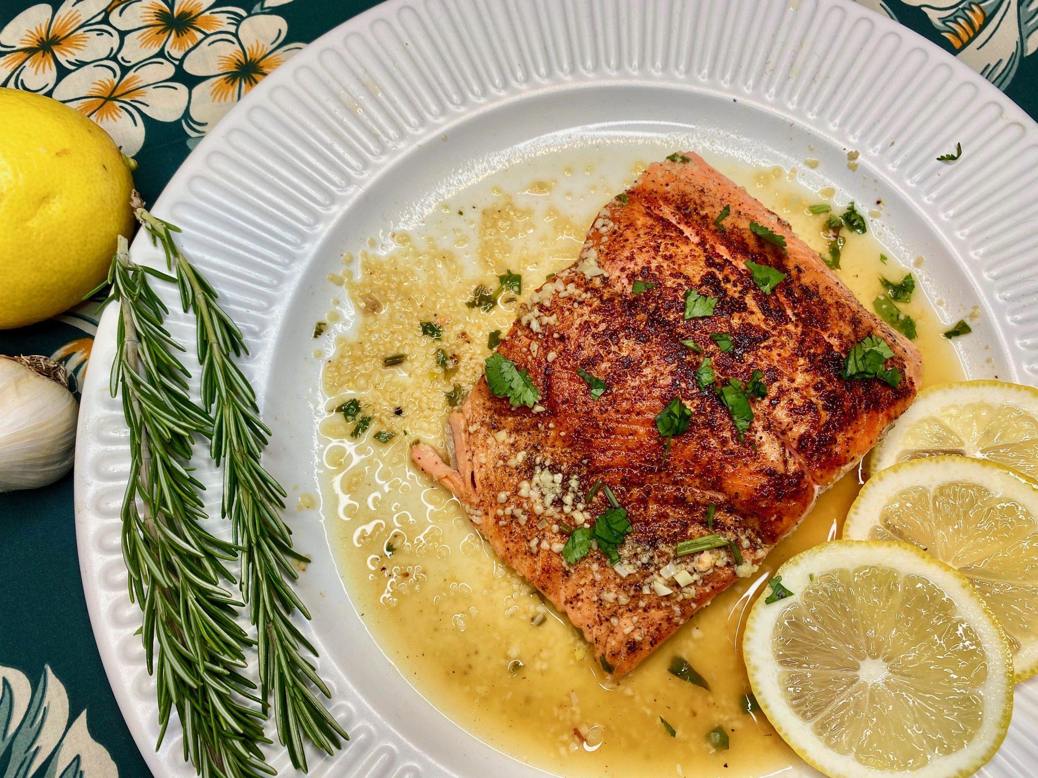 Creole Salmon Filets Recipe in Lemon Garlic Sauce