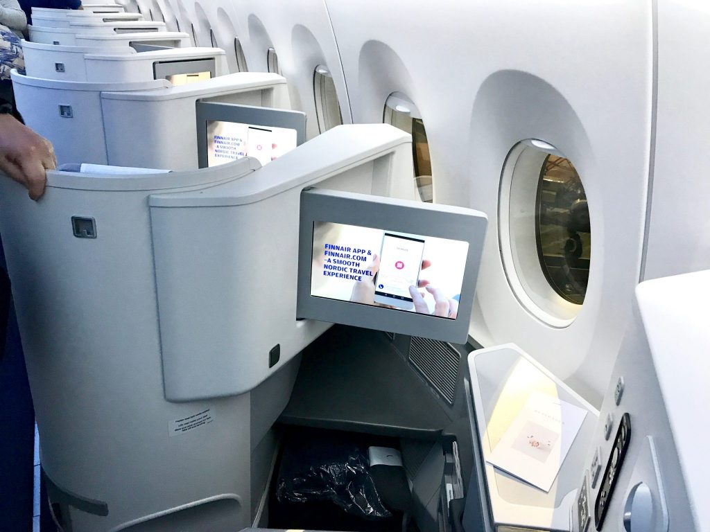 FinnAir first class cabin interior on A350 direct flight from Los Angeles to Helsinki
