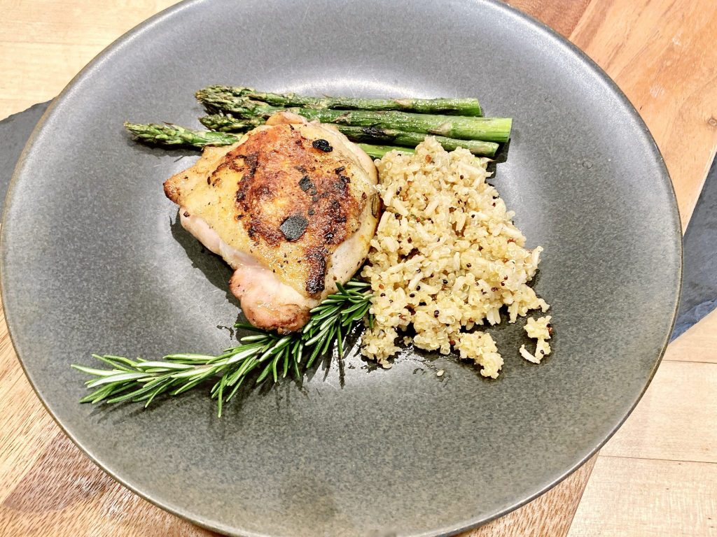 grilled lemon rosemary chicken plated