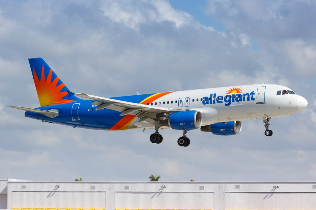 Fort Lauderdale, Florida – April 6, 2019: Allegiant Air Airbus A320 airplane at Fort Lauderdale airport (FLL) in the United States.